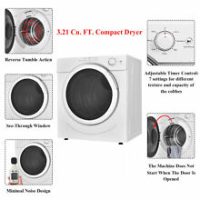 3 21 Cu Ft White Front Load Compact Electric Laundry Clothes Dryer Machine 27LBS