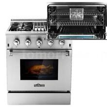 NEW 30  4 Burner Gas Range Electric Oven Dual Fuel Stainless Steel 4 2Cu Ft Z9F0