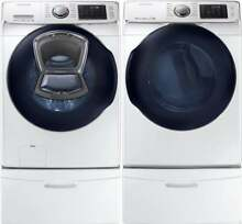 Samsung White Washer and Electric Dryer and Pedestals WF45K6500AW DV45K6500EW