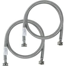 2 pk Braided Stainless Steel Washing Machine Hoses  5ft