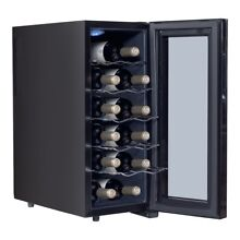 12 Bottles Home Bar Thermoelectric Wine Cooler Temperature Display Freestanding