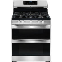 Kenmore Elite 5 9 cuft  Double Oven Gas Range  75423   Stainless w  Black Top