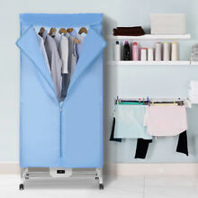 Folding Electric Clothes Dryer Wardrobe Machine 4Casters RemoteControl Efficient