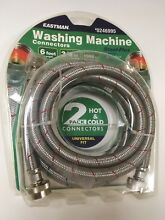 Eastman Washing Machine Hose Connector 2 Pack 6 ft 1500 PSI Stainless Steel New