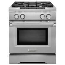 KitchenAid 4 Burner Dual Fuel 30 in Convection Range  Stainless