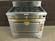 La Cornue Chef C36   Dual Fuel Range 36  Stove  5 Burners Brass Stainless