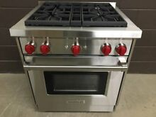 Wolf GR304   30  Professional Gas Range Stove 4 Burners Red Knobs