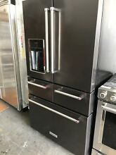 KitchenAid 25 8 Cu  Ft  French Door Refrigerator Black stainless KRMF706EBS