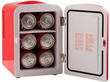 6 Can Retro Personal Mini Fridge Drink Storage for Home Office Car Boat Compact