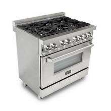 Oven Range Dual Fuel 6 Gas Burner Electric Oven Stainless Steel Professional
