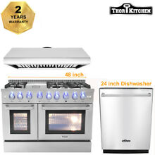 Thor Kitchen 48  Range Hood 48  Gas Oven 6 Burners  24  Dishwasher HRG4808 Range