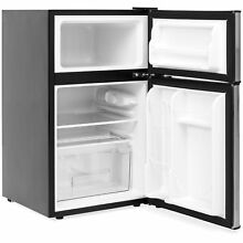 2 Door Mini Compact Refrigerator Freezer 3 2 Cubic Feet Silver Stainless Steel