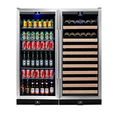 KingsBottle 2 Zone Large Wine   Beverage Fridge   397 Pounds Combo Fridge  Holds