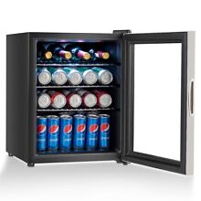 Home 52 Can Beverage Refrigerator Cooler with Glass Door Stainless Steel