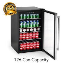 126 Can Stainless Steel Beverage Center  Glass Door Wine Beer  Soda Drink Fridge