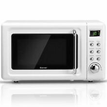0 7Cu ft Retro Countertop Microwave Oven 700W LED Display Glass Turntable White