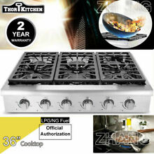 THOR KITCHEN 36  Gas Rangetop Stainless Oven Sealed 4 Burner Cooktop HRT3618U