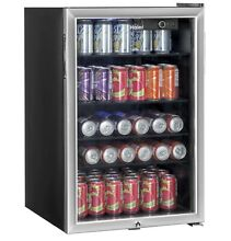 Haier Mini Fridge 150 Can Beverage Cooler with Glass Door  Stainless Steel