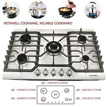 110V Top Brand 30 COOKTOP Steel Built in 5 Burners LPG NG Gas Hob Stove Cooktop