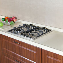 23  Stainless Steel 4 Burners Cooktop with NG LPG Gas Conversion Kit Cook top US