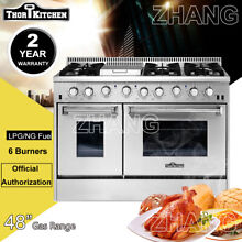 Thor Kitchen 48 Gas Range Double Oven 6 Burner Cooktop HRG4808U Stainless Steel