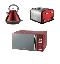 TOWER RED DIGITAL Microwave  1 8L 3kW PYRAMID Kettle   a Red 2 Slice Toaster