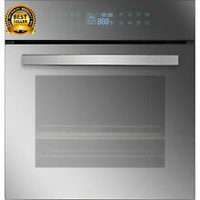 Empava 24  Black Tempered Glass Electric Single Wall Oven