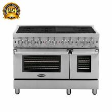 Commercial Style 48 In  5 8 Cu  Ft  Double Oven Dual Fuel Range with 6 Sealed Bu