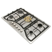 Metawell  30  Stainless Steel Gold Gas Cooktop Built In 5 Burner Kitchen Cooker