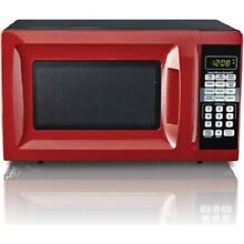 Hamilton Beach 0 7 Cu  Ft  Red Microwave Oven  For Small Kitchen Space Dorm  Apt