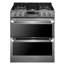LG SIGNATURE 7 3 cu ft  Dual Fuel Double Oven Range ProBake Convection Gas Steel