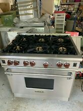 Wolf R366   36  Professional Gas Range Stove 6 Burners Stainless Steel