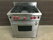 Wolf R304   30  Professional Gas Range Stove 4 Burners Stainless Steel Red Knobs
