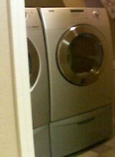 Samsung Stainless Steel Front Load Washer Dryer with  Pedestals  Moving Sale