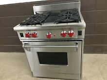 Wolf R304   30  PROF  Gas Range Stove 4 Burners Stainless Steel Red Knobs
