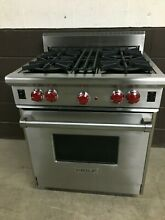 Wolf R304   30  PRO Gas Range Stove 4 Burners Stainless Red Knobs