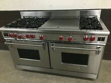 Wolf 60  All Gas Range R606DG   6 Burners   Double Griddle Stainless Red Knobs