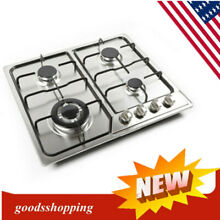 4 Burner Stove Gas Range Ignition Camping Outdoor Stainless Steel Cooktop