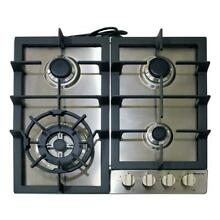Stainless Steel 24  Gas Cooktop Electronic Ignition Cast Iron Grates w  4 Burner