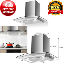 Range Hood Stainless Steel   Tempered Glass Wall Mount Kitchen W  LED Lights 30