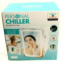 Personal Chiller LED Lighted Mini Fridge with Mirror Door Chill or Warm   White