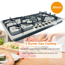 5 Burners Gas Stove 35  Built In Gas Cooktop Stainless Steel Natural Gas Propane