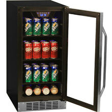 Stainless Steel 80 Can Beverage Cooler Compact Fridge   Free Standing   Built In