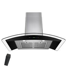 NEW 30  STAINLESS STEEL GLASS WALL MOUNT RANGE HOOD REMOTE CONTROL STOVE MODERN