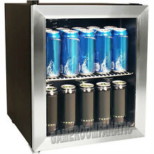 Stainless Steel Beverage Cooler Mini Fridge  Compact Glass Door Can Refrigerator