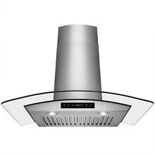 36  Wall Mount Stainless Steel Range Hood Stylish Stove Vent with Tempered Glass