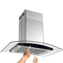 Curvy Style 30  STAINLESS STEEL GLASS ISLAND MOUNT RANGE HOOD FIT 9 9 5  Ceiling