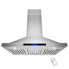 36  Stainless Steel Island Range Hood Remote Dual LED Touch Screen Display Vent