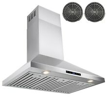 36  Stainless Steel Wall Mount Range Hood Touch Control Ductless Vented