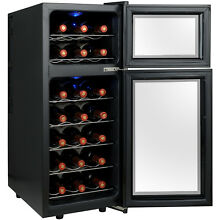 21 Bottle Freestanding Dual Zone Dual Cabin Wine Cooler Chiller Cellar in Black